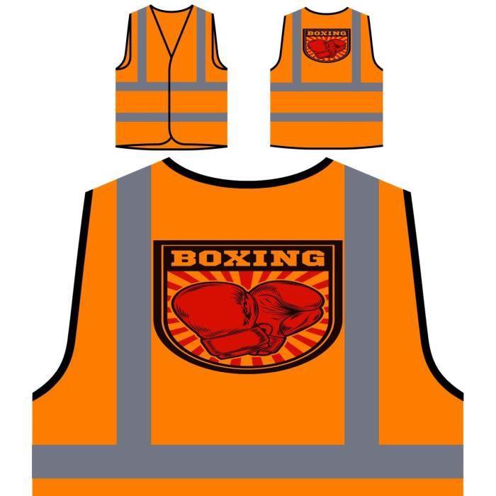 boxing Veste De Personnalisée Vs Haute Man À Orange Visibilité Protection Box Club 6rxw0T6