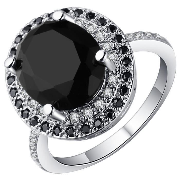 2499f25e5fda BAGUE - ANNEAU SMILE YKK Bague Noire Femme Argent 925 Cristal Ann ...