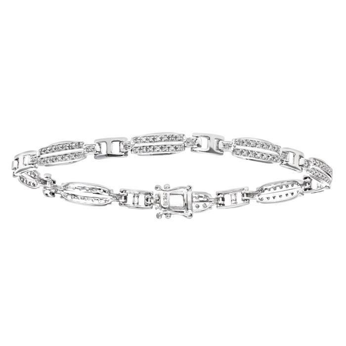 Revoni - Bracelet en or blanc 9 carats et diamants 0,63 carat, doubles maillons barres