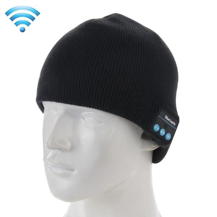 e0d56baeaf39 Bonnet Connecté noir pour le garçon et la fille les adultes Chapeau tricoté  chaud d hiver de Bluetooth avec micro