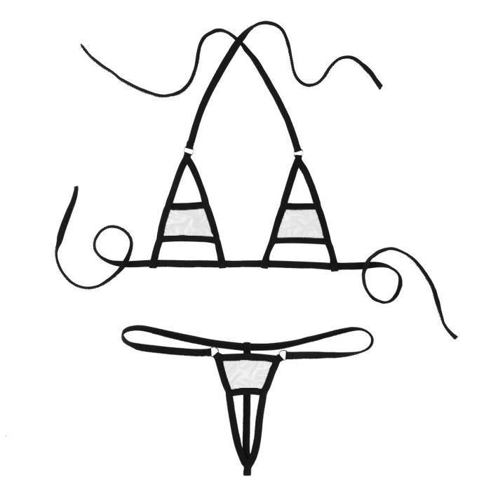 Ensemble Sous Gorge Sexy Bikini String Et Soutien Lingerie vêtement Blanc Bresilien Erotique aB1w5