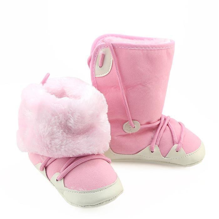 BOTTE Toddler nouveau-né bébé fille garçons berceau brossé bottes semelle souple Prewalker chaussures chaudes@RoseHM