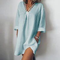ROBE Mode Femme col V évider coton lin en vrac Bohe Rob