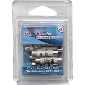VOLTMAN Pack 10 Fusibles avec voyant de fusion 8,5 x 31,5 mm - 20 A - 230 V