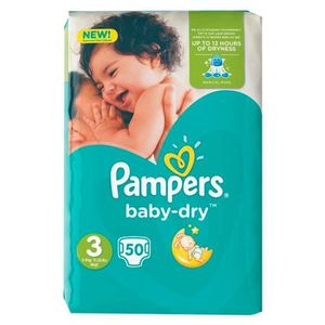 COUCHE Pampers Couches Baby-Dry Midi Taille 3 Géant (6-10
