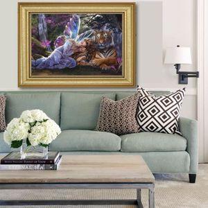 TABLEAU - TOILE MEI Tableau Peinture Huile Ange Tigre Diamant Déco