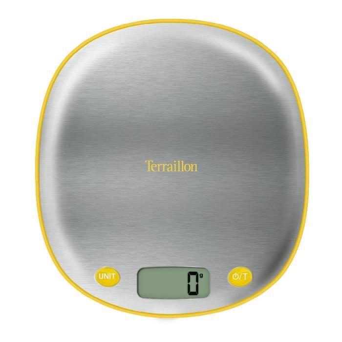 TERRAILLON Balance MACARON INOX CITRON - Electronique - Plateau inox - 5 kg - LCD - Tare - Conversio