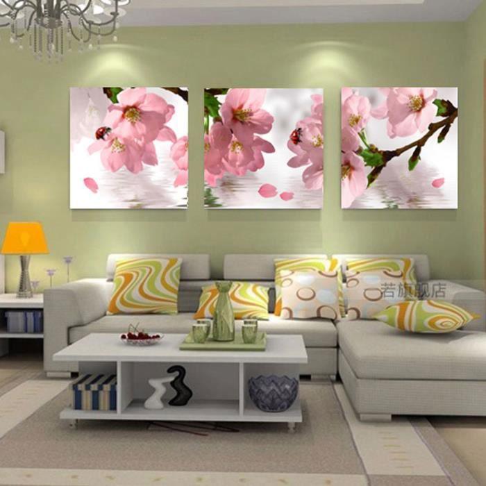 3 Pieces Mur De Toile Rose Art Déco Salon Maison Moderne Peint Sans