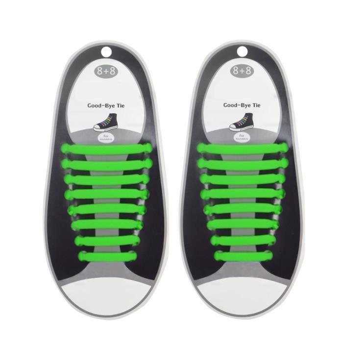 watch 0e742 d9973 16pcs Unisexe Lacets de Chaussures Silicone Elastique Set Shoelaces pas de  Lier pour Sneakers Marche Course Vert