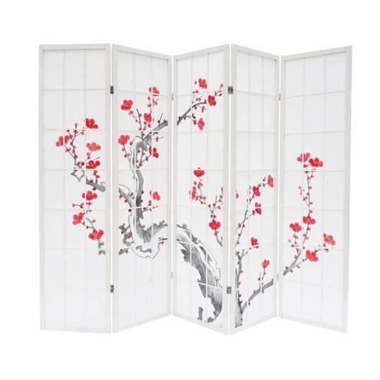 paravent cerisier en fleur blanc 5 pans achat vente paravent bois carton cdiscount. Black Bedroom Furniture Sets. Home Design Ideas
