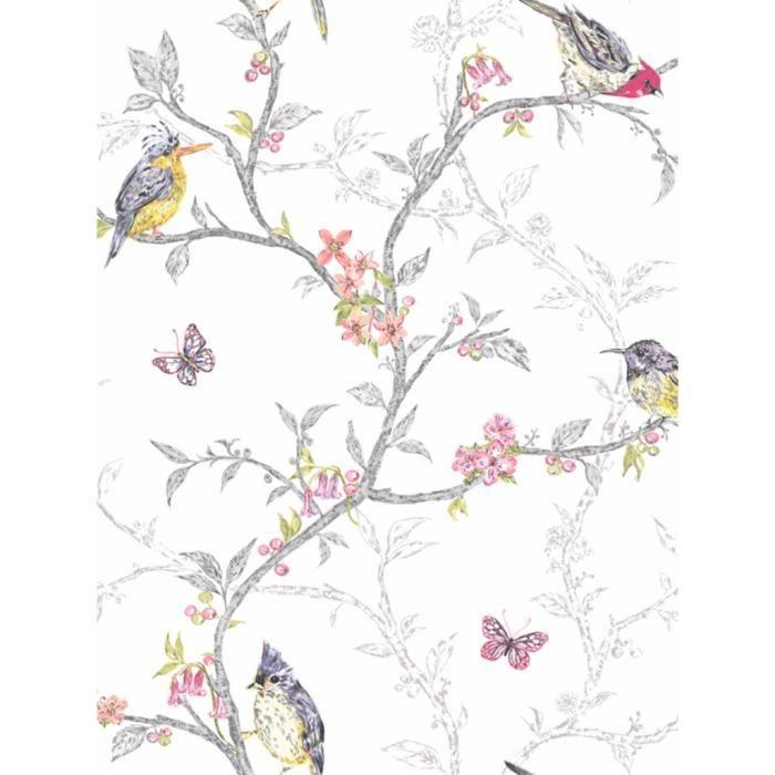 papier peint oiseaux sur fond blanc achat vente papier. Black Bedroom Furniture Sets. Home Design Ideas