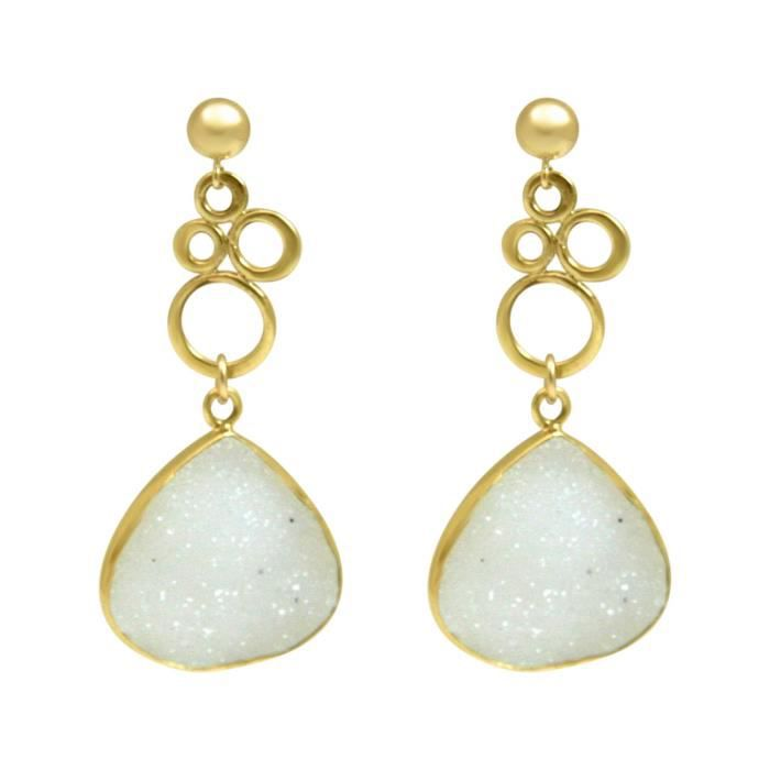 Gemshine - Dames - Boucles doreilles - BULLES - 925 Argent - Or - Druzy - Blanc - Quartz - 4,5 cm