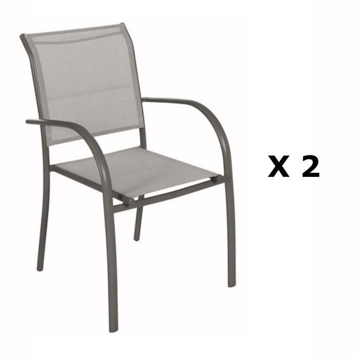 2 Chaises de jardin Piazza - H. 88 cm - Taupe et gris - Achat ...
