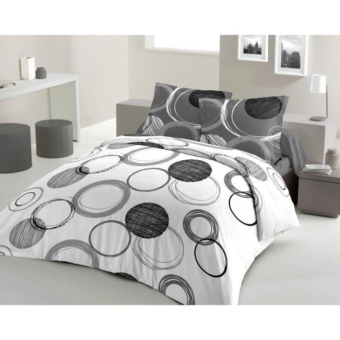 lovely home parure de couette audace 100 coton 1 housse de couette 200x200cm 2 taies. Black Bedroom Furniture Sets. Home Design Ideas