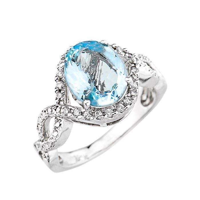 Bague Femme Alliance 10 ct Or Blanc 471/1000 Aquamarine et Diamant  Infinité