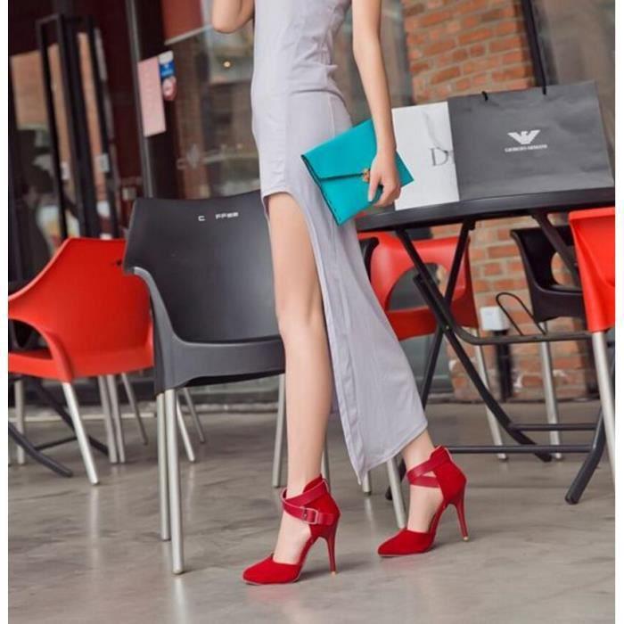 Pure Color bout pointu sexy talon haut Chaussur...