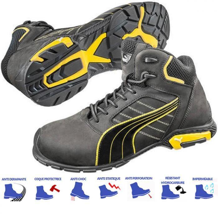 ccf0fbc4d4dc2 Chaussures de sécurité montantes Puma Amsterdam mid S3 SRC Noir et ...