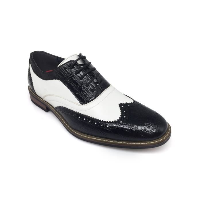 Dress Oxfords Shoes Italy Modern Designer Wingtip Captoe 2 Tone Lace Up Shoes JAZ8B Taille-47