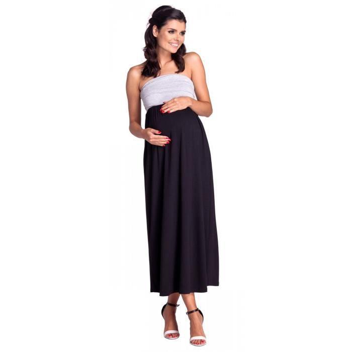 Zeta Ville - Maternité Robe Maxi Bandeau Plissé Empire Taille - Femme - 268c 1SKGJY Taille-34