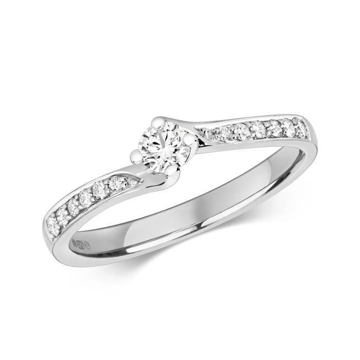 Bague Femme Solitaire Fiancailles Or Blanc 375-1000 et Diamant Brillant 0.32 Carat H - I1 30534