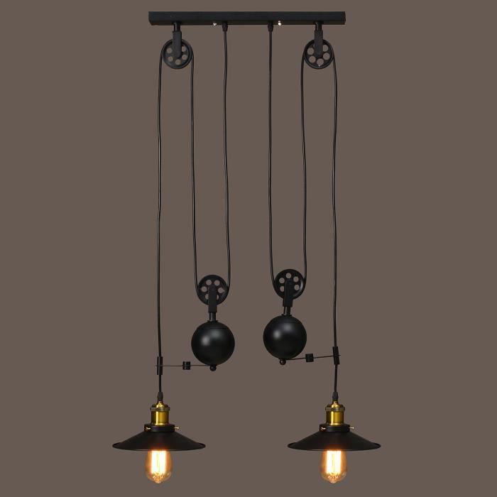 Ajustable 2 Neufu En Rétro Réglable Noir Luminaire Suspension Lampes BxerdCoW