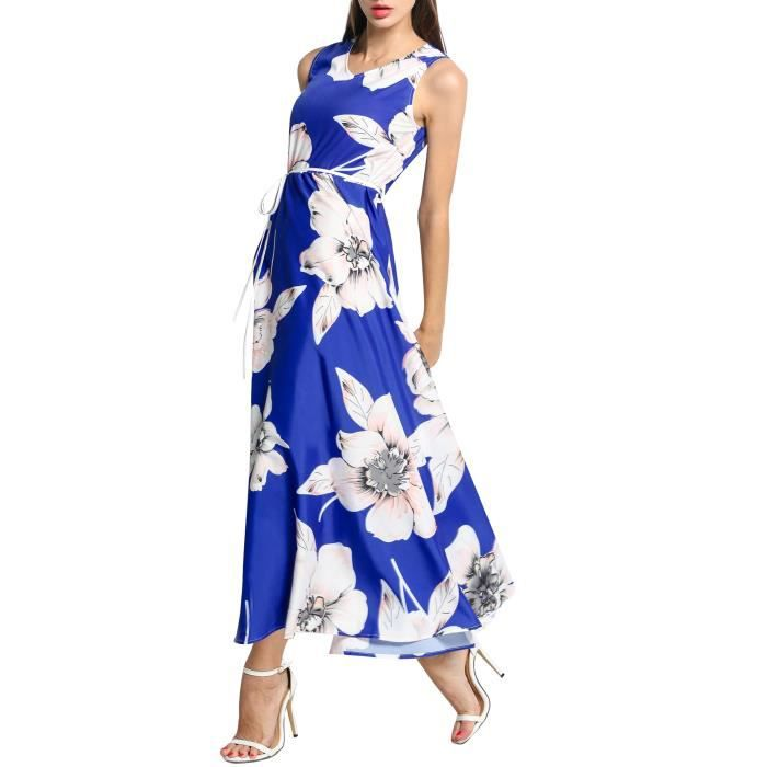 Robe femmes v-cou manches Floral Print Long Maxi Swing