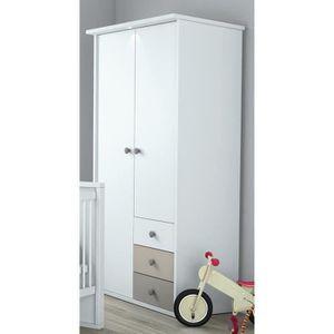 ARMOIRE PLAGE Armoire 2 portes coloris blanc, basalte et a