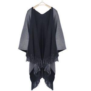 8cca6b0b71bf buyiesky® Femmes Manteau d hiver en tricot Cachemire Poncho Capes Châle  Cardigans Pull gris