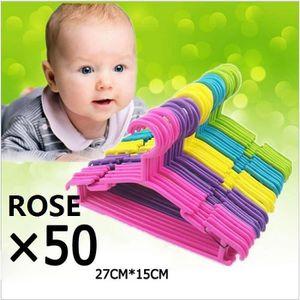 CINTRE ROSE Lot de 50 cintres pour bébé et enfant en plas