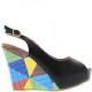 6940bcd690e SANDALE - NU-PIEDS Sandales compensées femme noires aspect cuir brill