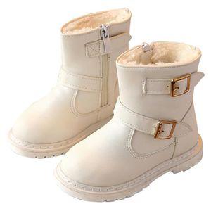 D'hiver Bottes Cuir Enfants Nouveaux Mode Bottines Fille BMMJ-XZ104Rouge22 7LzC3O