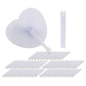 TULLE - NOEUD - RUBAN 60pcs Eventail Blanc Papier Rond Coeur Deco Decora