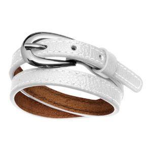 Bracelet acier et cuir 2 rangs fermeture ceinture