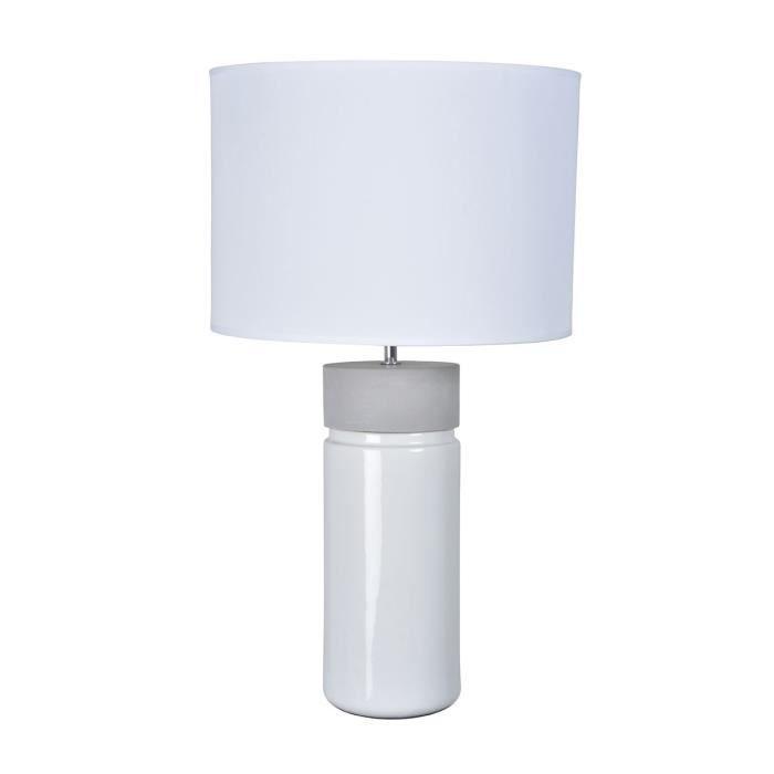 PALMA GM Lampe à poser bi-matière D 35 cm x H 63,5 cm Béton et blanc