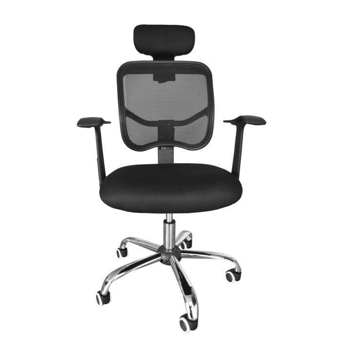 Assise réglable en hauteur - accoudoirs polypropylène - revêtement 100% polyester - 60x60x107/115 - NoirCHAISE DE BUREAU - FAUTEUIL DE BUREAU