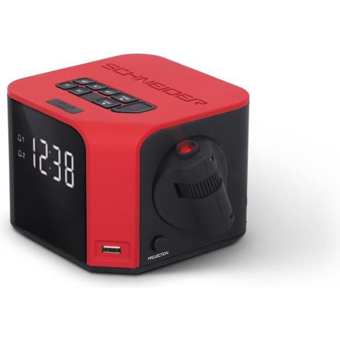 SCHNEIDER SC360ACLRED Radio Réveil Double Alarme Projection USB Charge Luna - Rouge