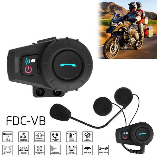 2 Pièces Kit Main Libre Intercom Moto Duo Oreillette Bluetooth Casque Moto  avec Micro Système de Communication Moto Pilote Passager aec690ea4a2b