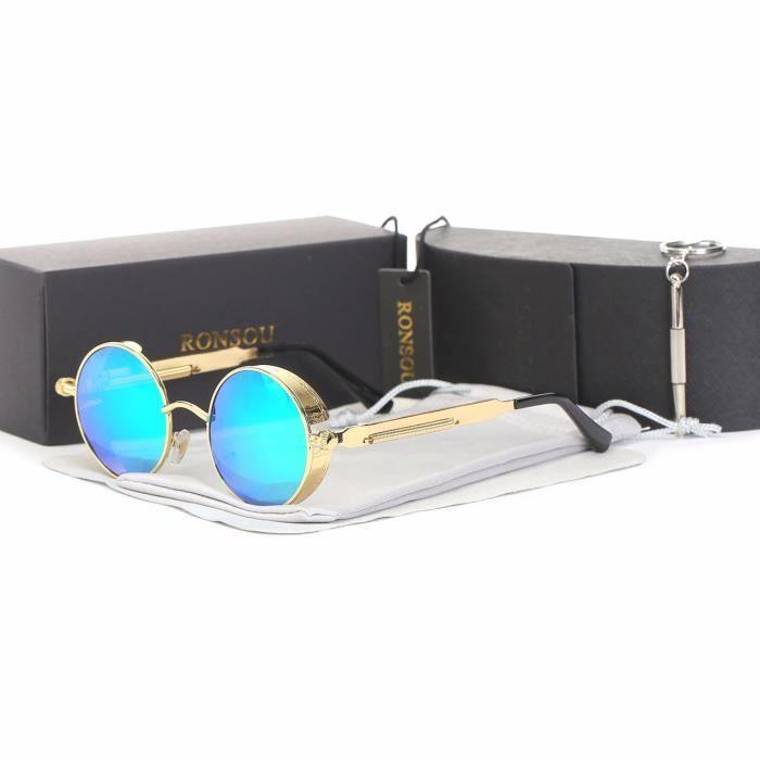 1dcacdd953ba7a Ronsou Steampunk Style Ronde Vintage Polarisées Lunettes de Soleil UV400  Protection Métal Cadre cadre doré - lentille verte