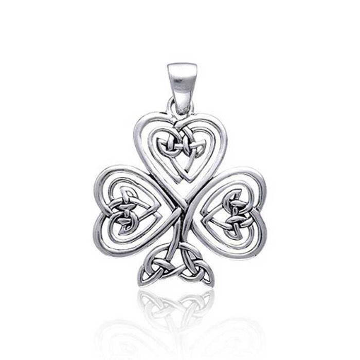 Celtiques Noeud Coeur Trèfle Argent Sterling Poignée