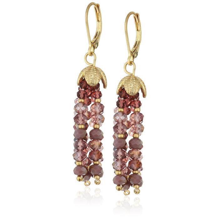 Bead Brilliance Worn Gold-tone Burgundy Beaded Drop Earrings Q48LG
