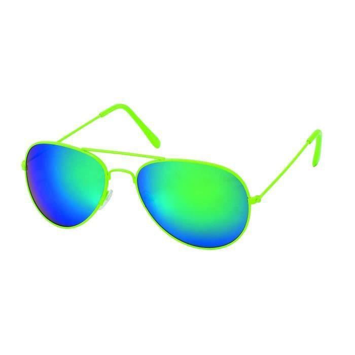 lunettes Pilote couleurs et verres Miroirs-5 coloris Vertes fluo