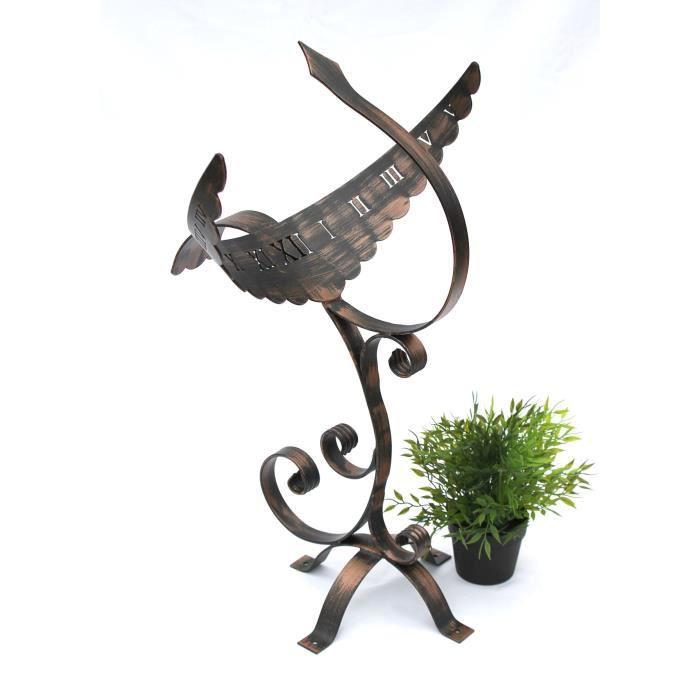 dandibo cadran solaire ph nix en fer forg imperm able 65 cm pendule de jardin m tal phoenix. Black Bedroom Furniture Sets. Home Design Ideas