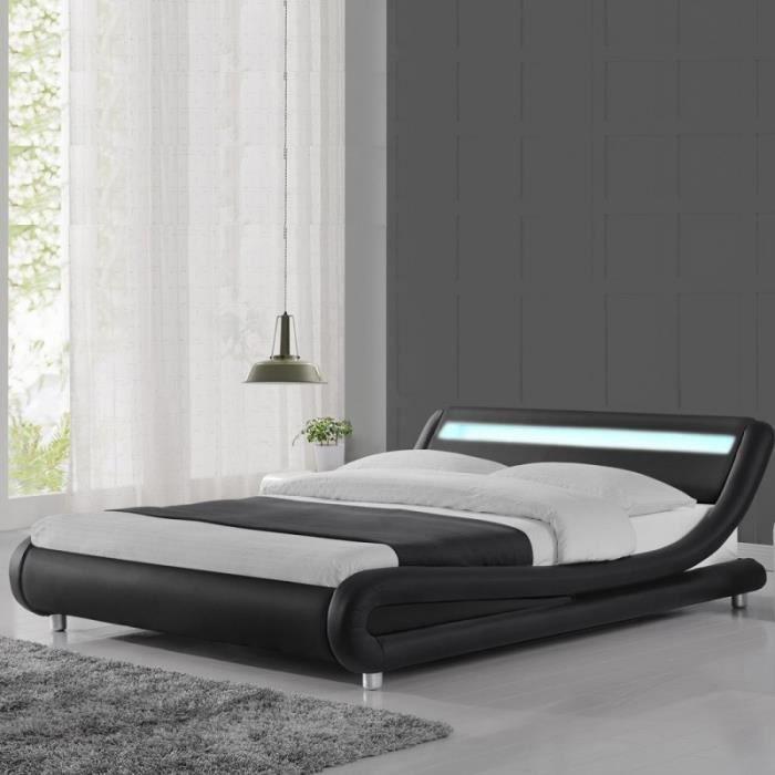 lit led 140x190 noir achat vente lit led 140x190 noir pas cher soldes d s le 10 janvier. Black Bedroom Furniture Sets. Home Design Ideas