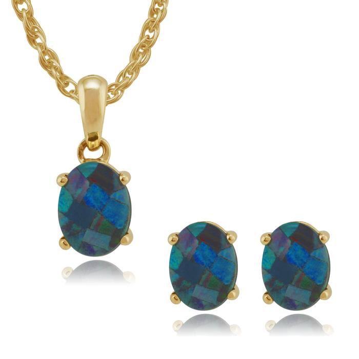 Gemondo Ensemble de bijoux Solitaire Or jaune 9 ct Opale Bleu