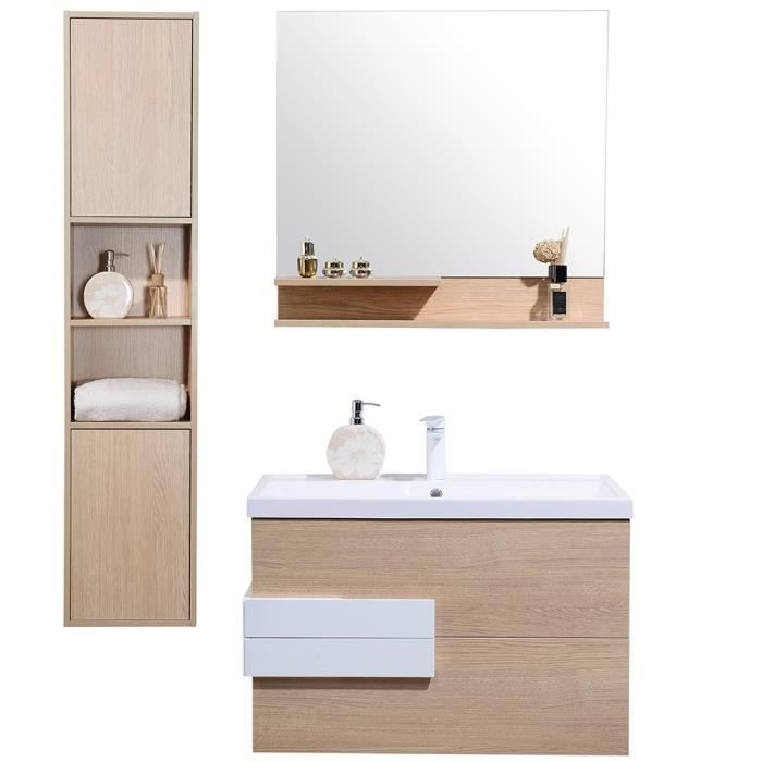 vasque avec colonne Meuble de salle de bain simple vasque avec colonne de rangement 00mm,  ensemble de salle de bain bois rosé