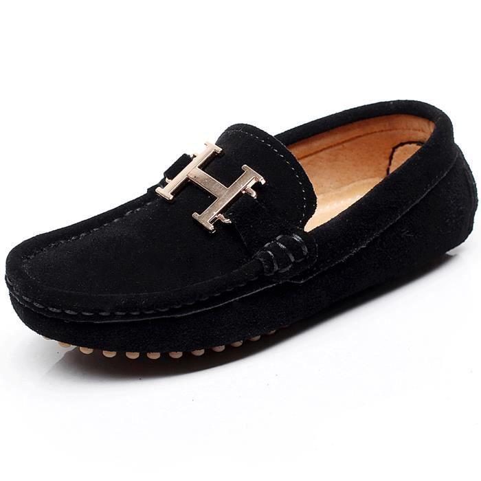 Shenn Fille Garçon Agréable Boucle Glisser Sur Suède Cuir Mocassins Chaussures