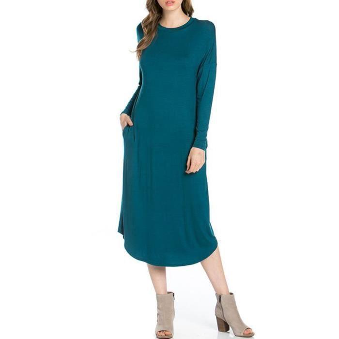 Craze womens robe trapèze midi élégante une ligne, une ligne de robe par SUDK9