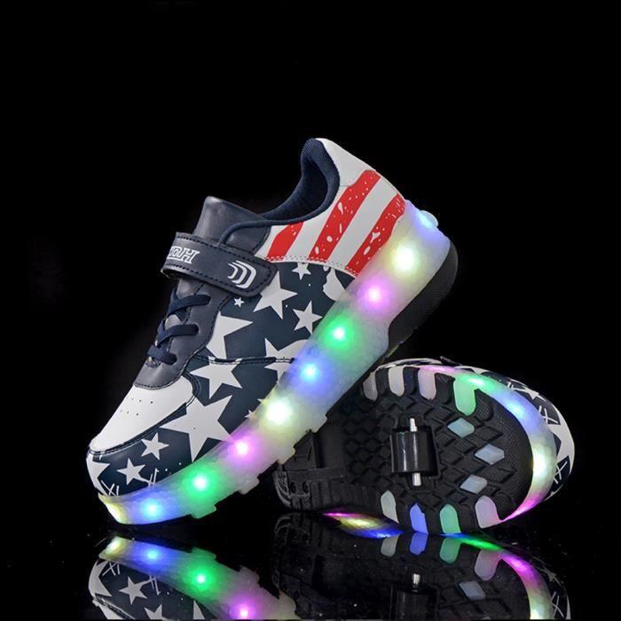 Chaussures Heely roulette enfant LED lumiere Double roue Basket garçon fille - Noir bleu XnkMdBH