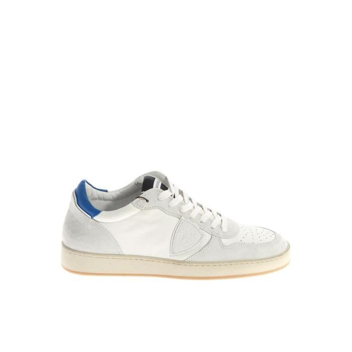 PHILIPPE MODEL HOMME LKLUXS11 BLANC CUIR BASKETS