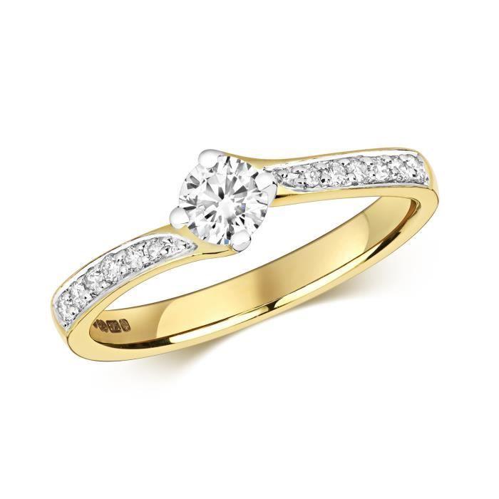 Bague Femme Solitaire Fiancailles Or 375-1000 et Diamant Brillant 0.47 Carat H - I1 30536
